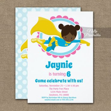 Superhero Girl African American Birthday Invitation PRINTED