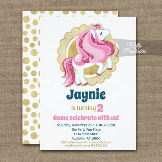 Unicorn Pink Gold Cute Girls Birthday Invitation PRINTED