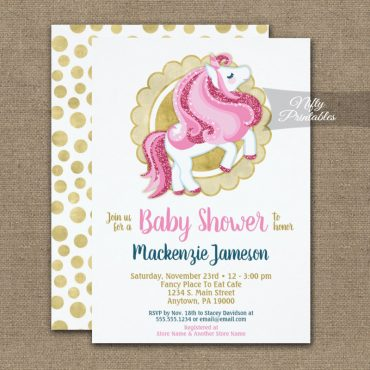 Unicorn Pink Gold Girls Baby Shower Invitations PRINTED