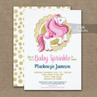 Unicorn Pink Gold Girls Baby Sprinkle Invitations PRINTED