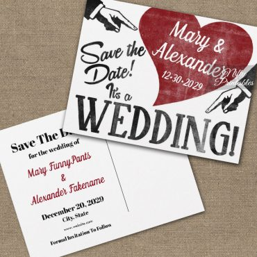 Funny Vintage Save The Date Red Heart PRINTED