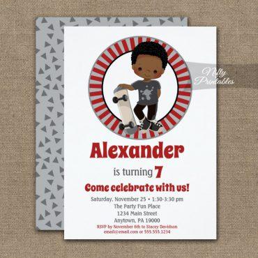 Skateboard Boys Birthday Invitation African American PRINTED