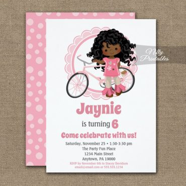 Girls Bicycle Birthday Invitation African American PRINTED