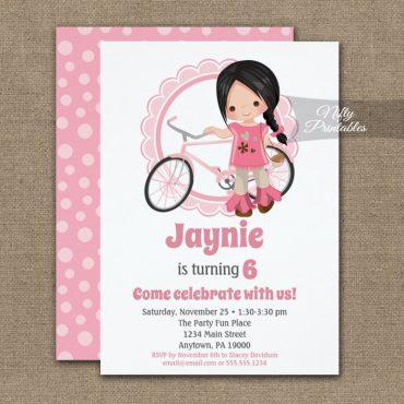 Girls Bicycle Birthday Invitations Black Hair PRINTED