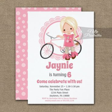 Girls Bicycle Birthday Invitation Blonde Hair PRINTED