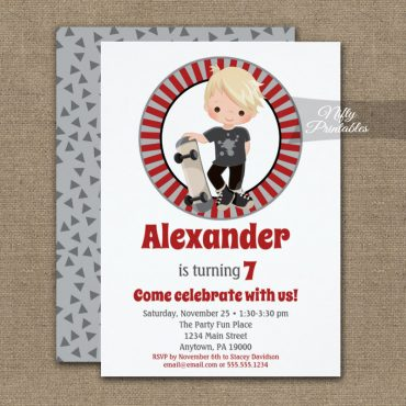 Skateboard Boys Birthday Invitation Blonde Hair PRINTED