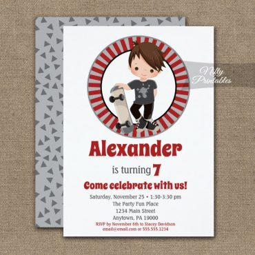 Skateboard Boys Birthday Invitation Brown Hair PRINTED