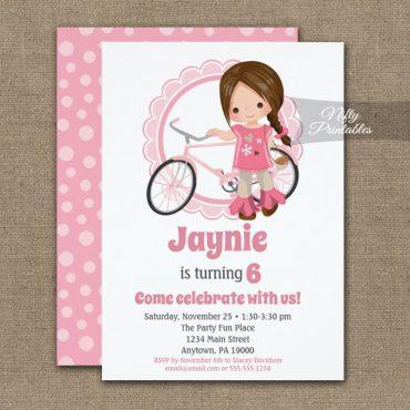 Girls Bicycle Birthday Invitations Brunette Hair PRINTED