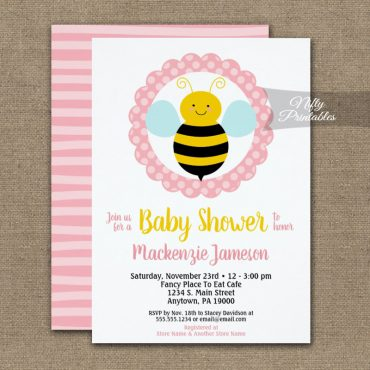 Bumble Bee Baby Shower Invitations Girls Cute PRINTED