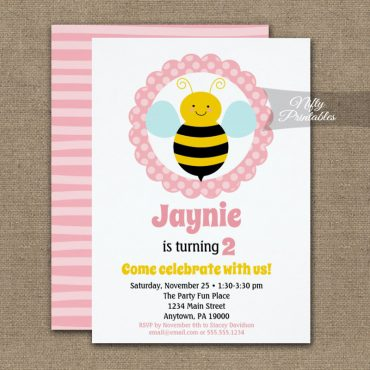 Cute Bumble Bee Girls Birthday Invitation PRINTED