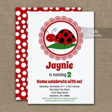 Cute Ladybug Birthday Invitation PRINTED
