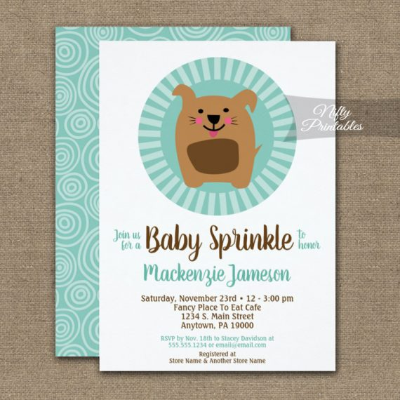 Funny Dog Puppy Baby Sprinkle Invitation Neutral PRINTED