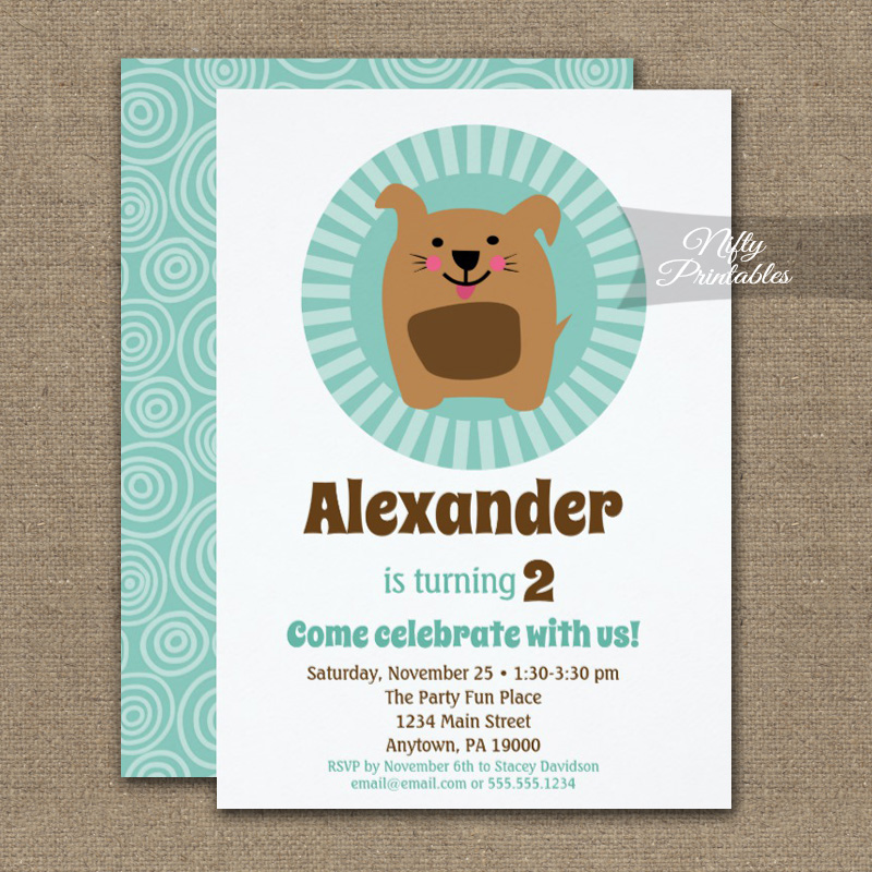 Funny Dog Puppy Birthday Invitation Boy Girl PRINTED