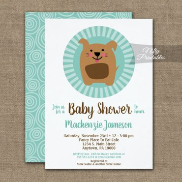 Funny Dog Puppy Neutral Baby Shower Invitation PRINTED