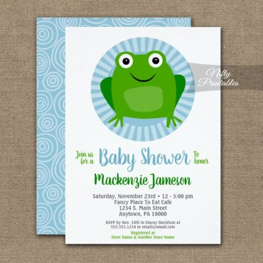 Frog Baby Shower Invitation PRINTED