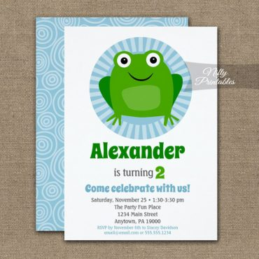 Funny Frog Birthday Invitation PRINTED