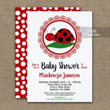 Cute Ladybug Baby Shower Invitations PRINTED