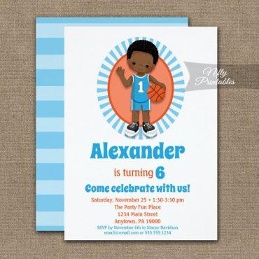 African American Basketball Boys Birthday Invitations PRINTED