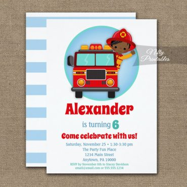 African American Boys Firefighter Birthday Invitations PRINTED