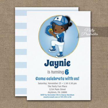 African American Girls Blue Softball Birthday Invitation PRINTED