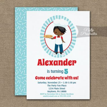 African American Boy Pizza Party Birthday Invitations PRINTED