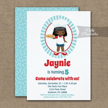 African American Girl Pizza Party Birthday Invitation PRINTED