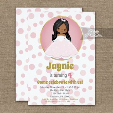 African American Princess Girl Birthday Invitation PRINTED