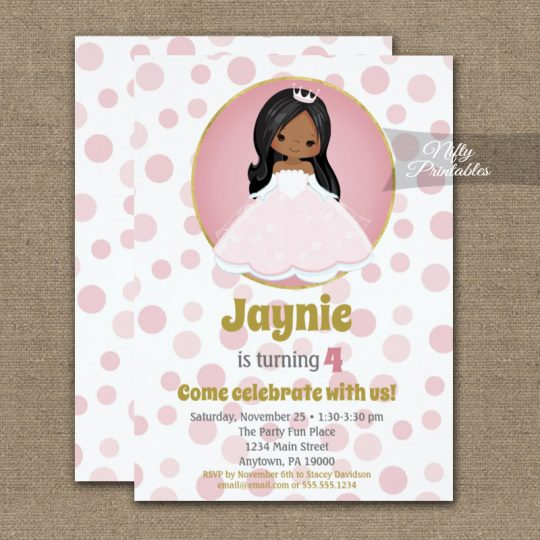 African American Princess Girl Birthday Invitations PRINTED