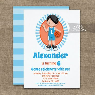 Black Hair Basketball Boys Birthday Invitation PRINTED