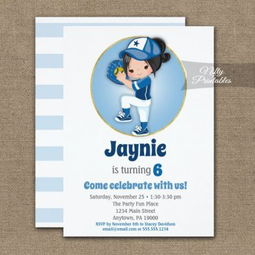Black Hair Girls Blue Softball Birthday Invitation PRINTED