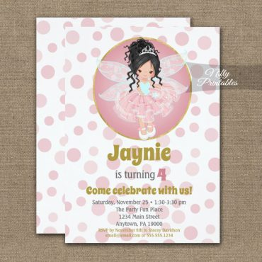 Black Hair Pink Fairy Girls Birthday Invitation PRINTED
