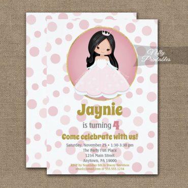 Black Hair Pink Princess Girls Birthday Invitation PRINTED