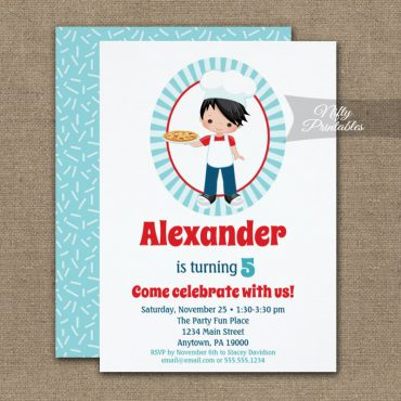 Black Hair Boy Pizza Party Birthday Invitation PRINTED