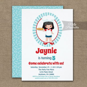 Black Hair Girl Pizza Party Birthday Invitation PRINTED