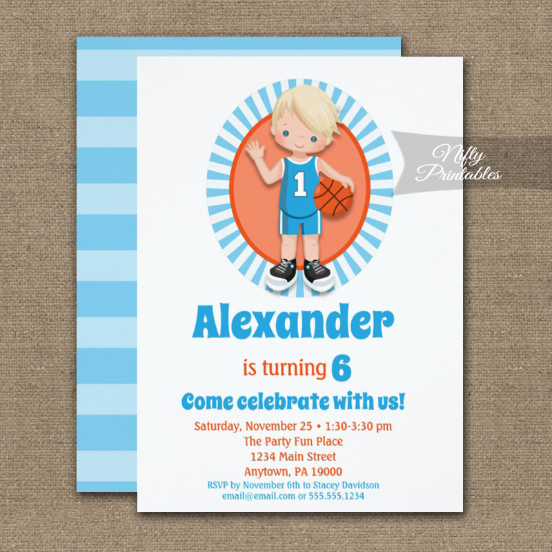 Blonde Basketball Boys Birthday Invitation PRINTED