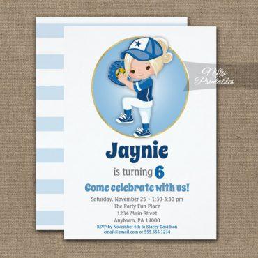 Blonde Girls Blue Softball Birthday Invitations PRINTED