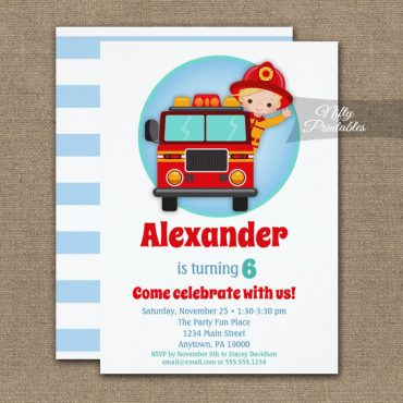 Blonde Hair Boys Firefighter Birthday Invitation PRINTED