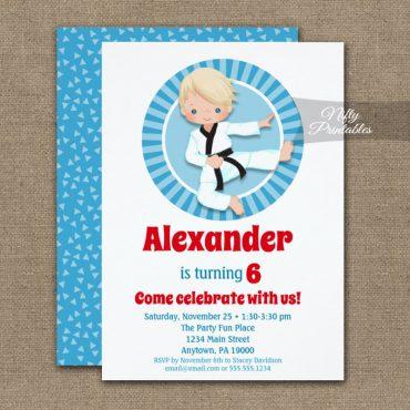 Blonde Hair Karate Judo Boys Birthday Invitation PRINTED