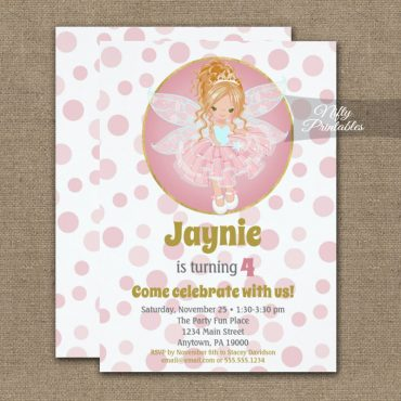 Blonde Pink Fairy Girls Birthday Invitations PRINTED