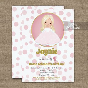 Blonde Pink Princess Girls Birthday Invitation PRINTED