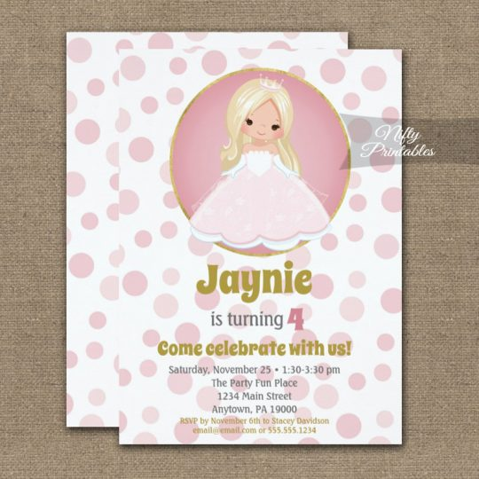 Blonde Pink Princess Girls Birthday Invitations PRINTED