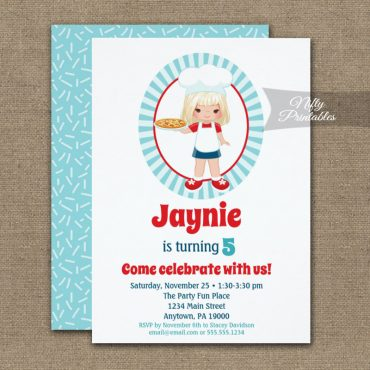 Blonde Girl Pizza Party Birthday Invitation PRINTED
