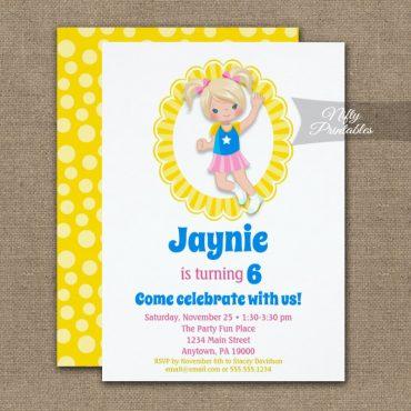 Bounce House Jumping Blonde Hair Girls Birthday Invitation PRINTED