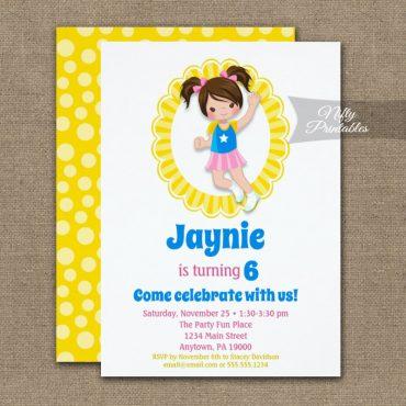 Bounce House Jumping Brunette Hair Girls Birthday Invitations PRINTED