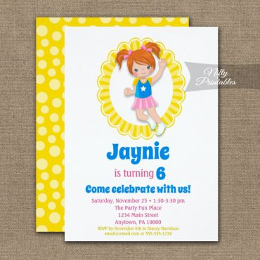 Bounce House Jumping Red Hair Girls Birthday Invitation PRINTED