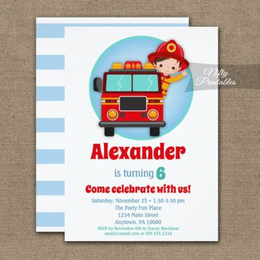 Brown Hair Boys Firefighter Birthday Invitation PRINTED