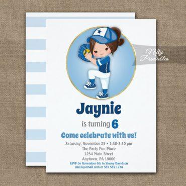 Brunette Girls Blue Softball Birthday Invitations PRINTED