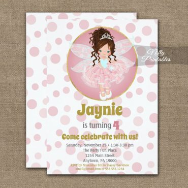Brunette Pink Fairy Girls Birthday Invitation PRINTED