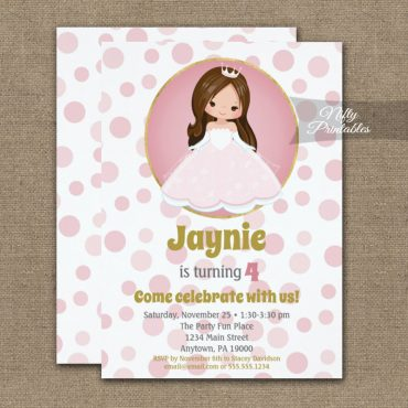 Brunette Pink Princess Girls Birthday Invitation PRINTED
