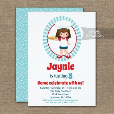Brunette Girl Pizza Party Birthday Invitation PRINTED